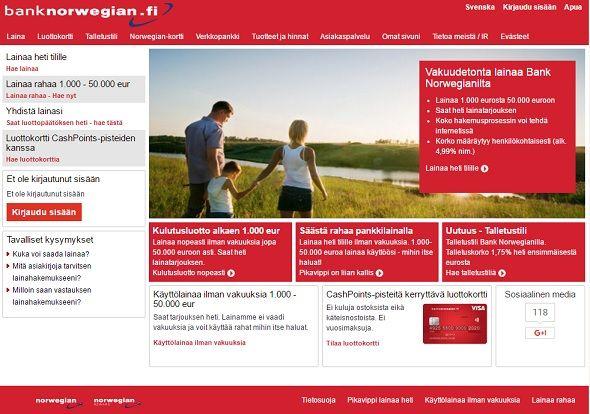 Bank Norwegian lainaa aina edullisesti pankista 50.000 euroon asti.