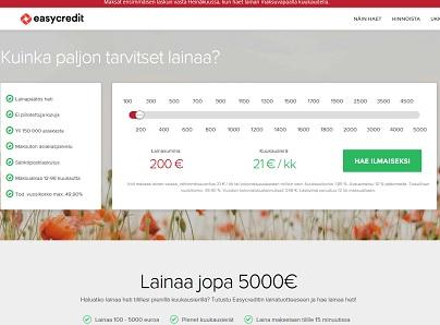 Aloita valitsemalla kuinka paljon tarvitset Easycredit lainaa!